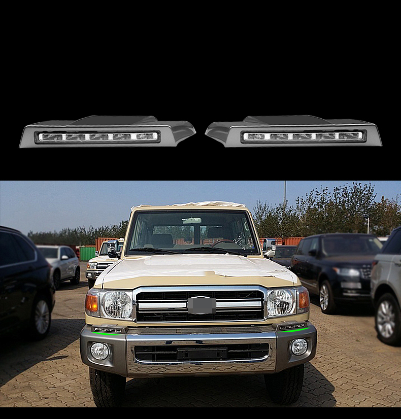 For <font><b>Toyota</b></font> Land cruiser LC70 LC71 <font><b>LC76</b></font> LC77 LC78 LC79 Car styling LED Daytime Running Light Front Bumper DRL image