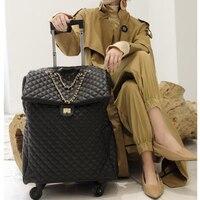 REISE TALE 20 zoll Frauen tragen auf gepäck retro kabine leder koffer tasche auf rädern