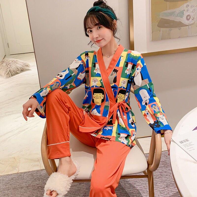 Women Cute Pajamas Set Sweet Cartoon Printed Japanese Kimono Style Sleepwear Ladies 2Pcs V-Neck Comfort Soft Homewear Casual