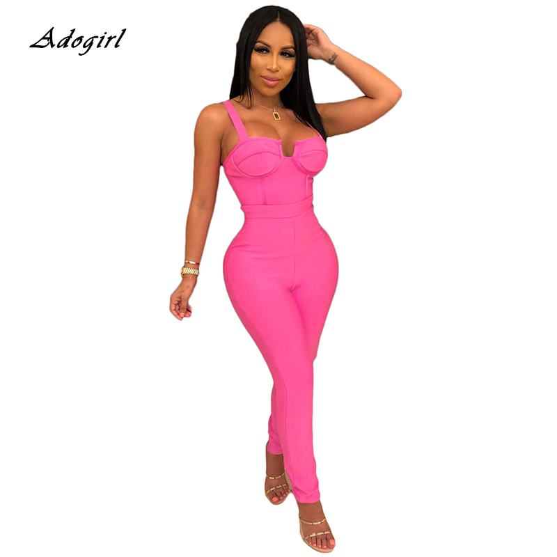 Pink Spaghetti Strap Strapless Women Jumpsuit Sexy Summer Zipper Backless Pencil Pants Bodycon Black Rompers Womens Jumpsuit