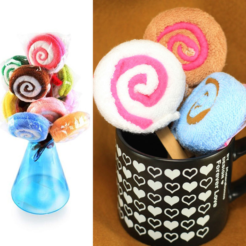 Lollipop Shape Washcloth Fiber Towel Gift Baby Shower Present Bridal Ornament Wedding Party Favor Hot Sales
