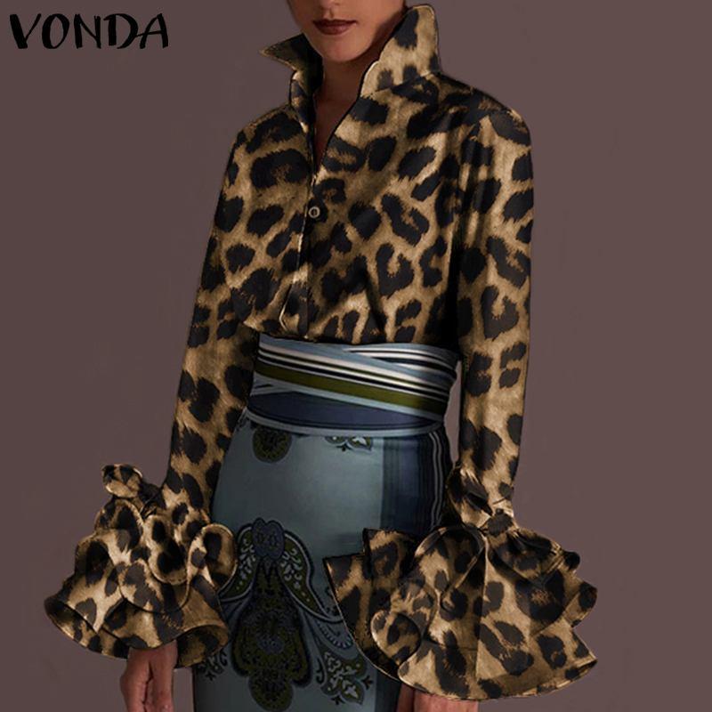 VONDA Vintage-Blusa de manga larga para otoño, camisa con estampado de leopardo para mujer, blusa de trabajo de oficina 2021