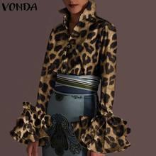 秋のロングスリーブラペルチュニックトップス女性ヴィンテージブラウスvondaファッションヒョウ柄シャツ2021エレガントな事務ブラウス