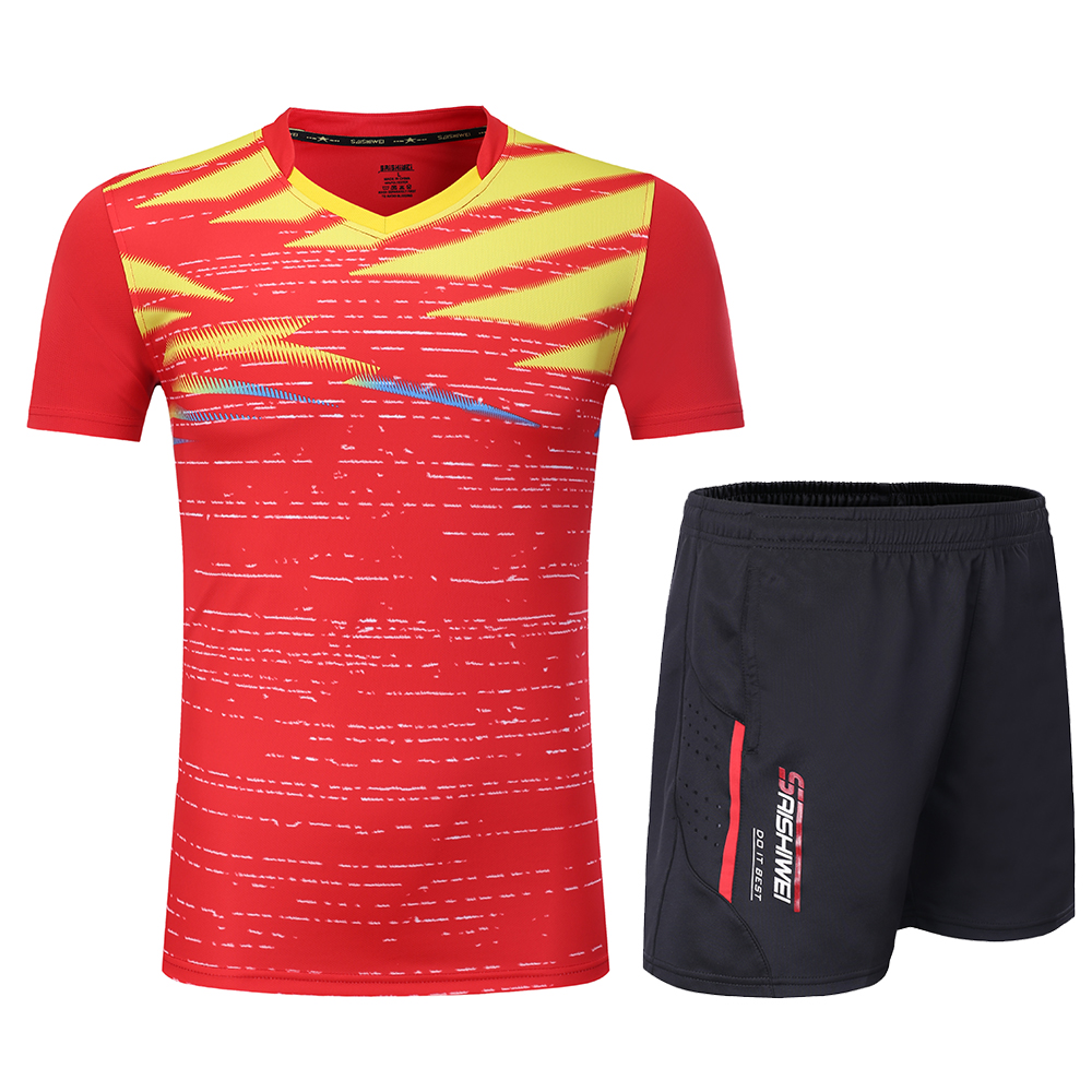Новинка, быстросохнущая футболка для бадминтона для мужчин/женщин, спортивный комплект для бадминтона, настольный теннис, Мужская форменная футболка, теннисные рубашки, одежда 3869 - Цвет: Red