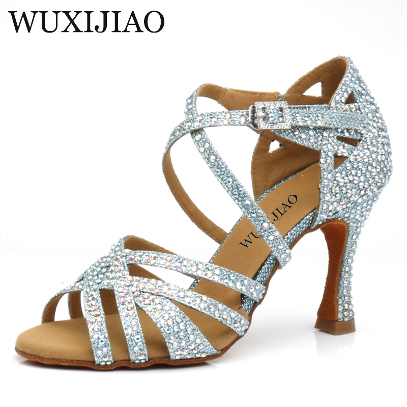 WUXIJIAO 2020 New Rhinestone Latin Salsa Shoes Performance Dance Shoes Dance Shoes Ballroom Dance Shoes Women Light Blue Glitter
