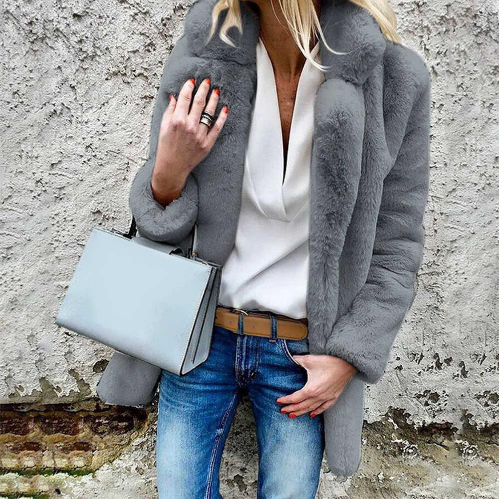 Sfit Faux Delle Donne Cappotti di Pelliccia di Inverno di Modo Solido Punto Outwear Femminile di Lusso a Maniche Lunghe Caldo di Spessore Soffice Cappotto Del Rivestimento