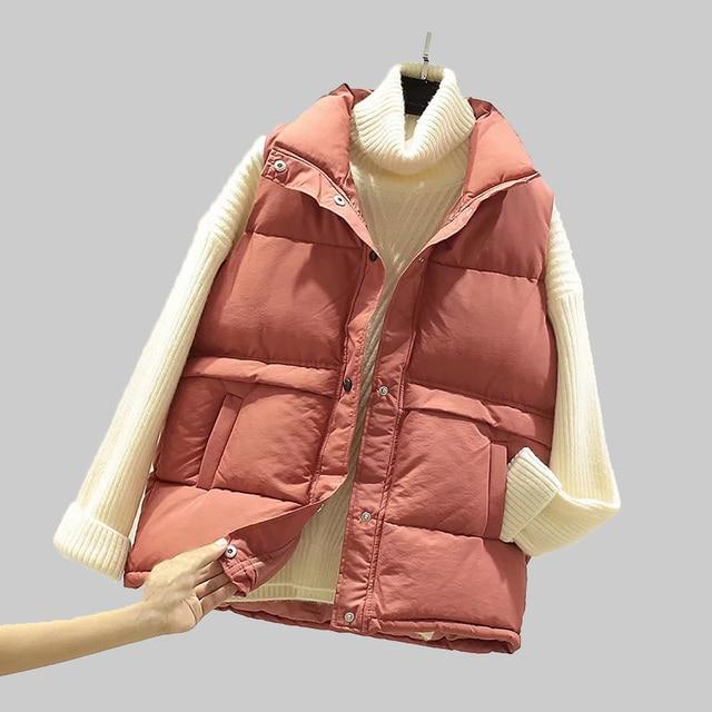 2020 mulheres sem mangas colete inverno quente plus size 2xl para baixo algodão acolchoado jaqueta feminina veats gola mandarim sem mangas colete 1
