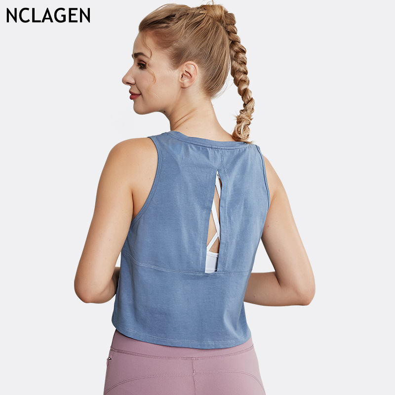 Sport Shirt Vrouwen Yoga Top Dames Running Fitness Kleding Workout Gym Activewear Ademend Droge Fit Gat Sexytank Top Nclagen
