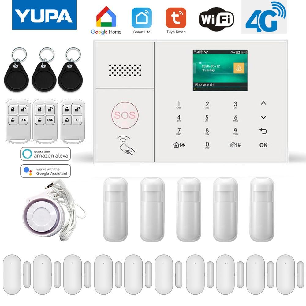 WIFI אלחוטי GSM פורץ אבטחת בית עם חיישן תנועת דלת גלאי Tuya SmartLife App תומך Alexa & Google