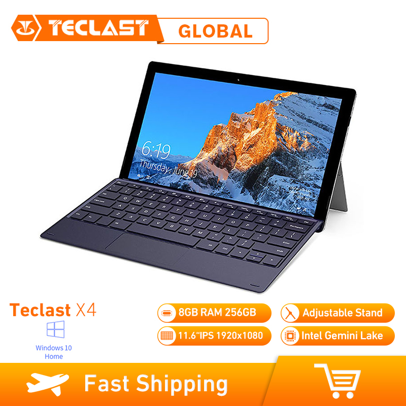 Teclast X4 2 en 1 Tablet portátil de 11,6 pulgadas Windows 10 Celeron N4100 Quad Core 1,10 GHz 8GB RAM 256GB SSD HDMI con teclado Tablet