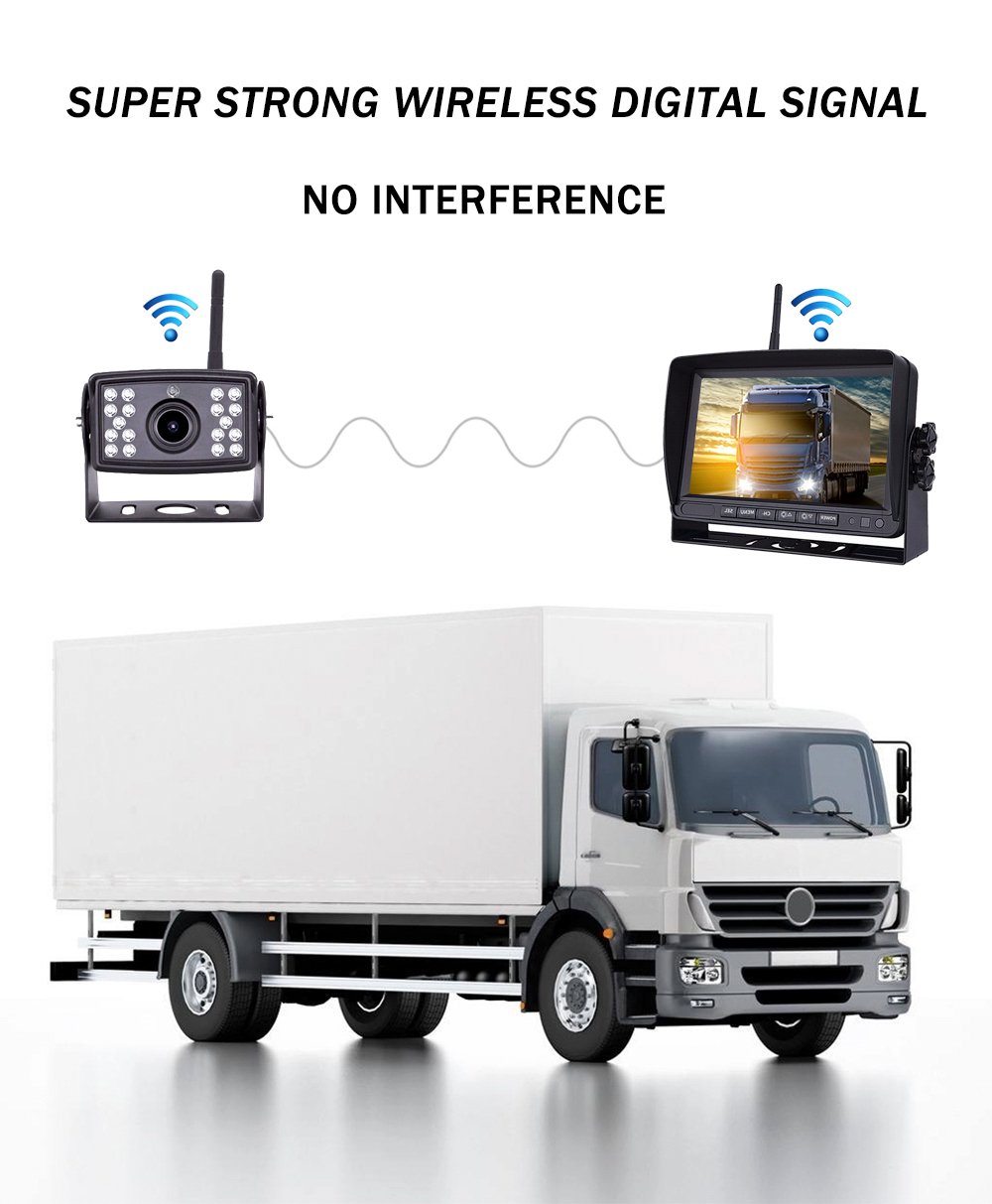 Wireless Rv Truck Trailer Bus Forklift 4 Channel Video Record 7 Inch Monitor Infrared Reverse Backup Quad View Camera System 28