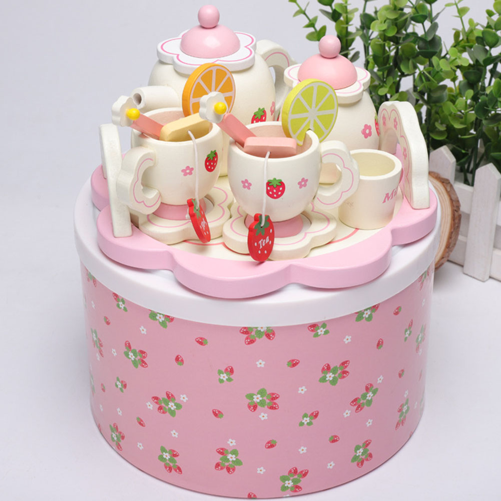 Girl Mini Wooden Pretend Play Tea Set Toy Kids With Box Spoon Bowl Kitchen Cup Tray Fruit Slice Gift