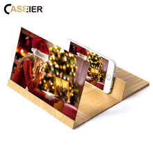 CASEIER 12 inch Desktop Folding Wood Bracket Mobile Phone Screen Magnifier 3D HD Video Amplifier Smartphone Holder Stand