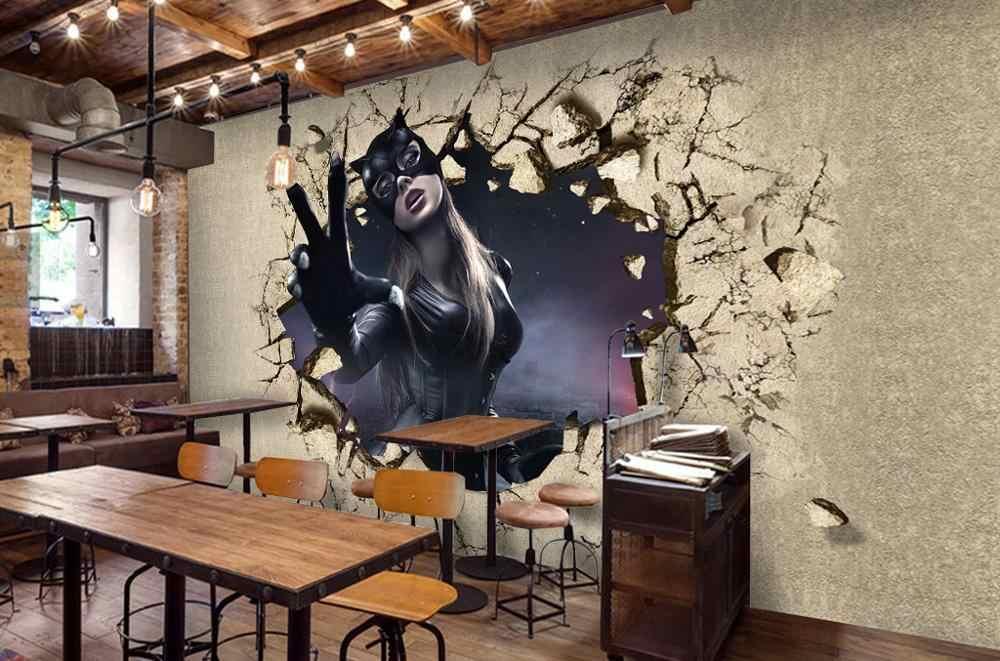 [自己粘着] 3D 少女黒ドレス WG255 壁壁紙壁画壁印刷デカール壁壁画ベリー