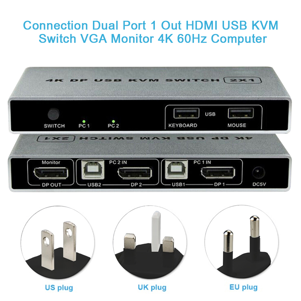 Monitor Controller Mouse Support KVM Switch HDMI USB Connection Plug And Play 4K 60Hz Dual Port Computer Displayport Stable VGA
