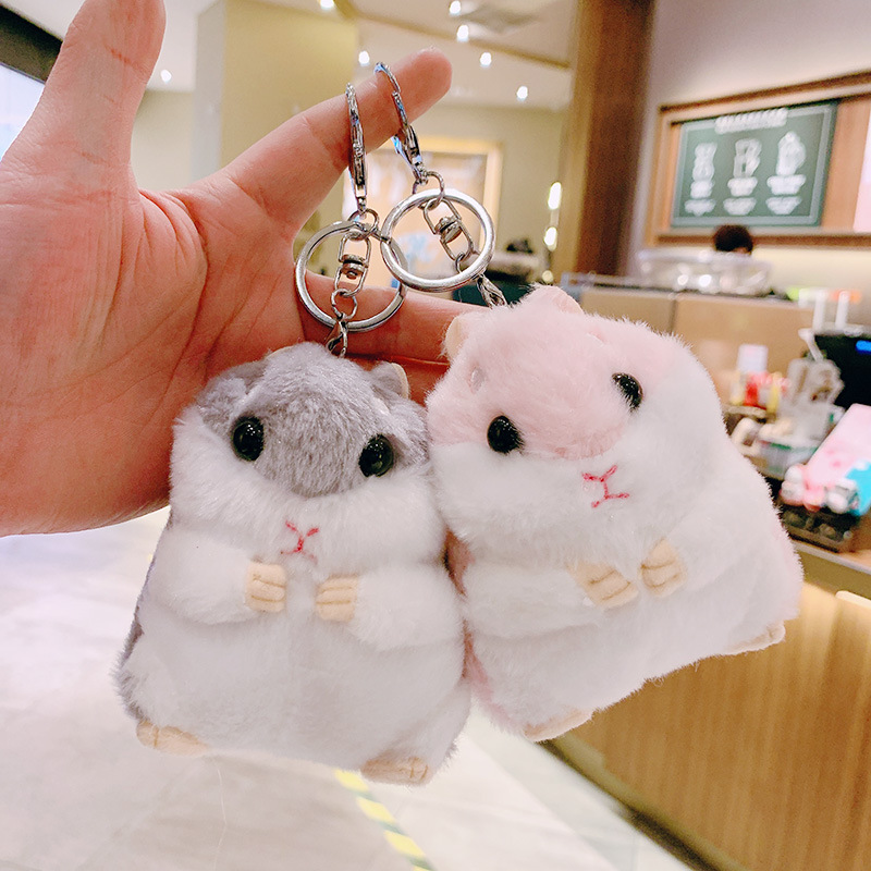 Hamster doll keychain pendant doll hamster cute backpack doll plush ins bag pendant school bag pendant