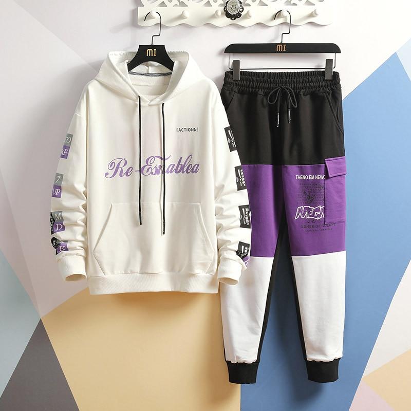 Sweatshirts+Pants 2 Pieces Sets Men Autumn Tracksuits Sets High Quality Men Cotton Hoode Sweatsuits Long Pants Jogger Suits