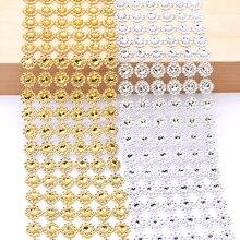 Ruban avec strass doré et argent, 1Yard, 10cm, ruban avec strass en cristal, rouleau à mailles, couture artisanale, emballage de fleurs, décoration enroulé