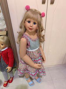 Image 2 - 100CM Hard vinyl toddler princess blonde girl doll toy like real 3 year old size child clothing photo model dress up doll