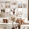 Nordic плакат пейзаж с оленем настенный художественный холст для живописи завод букет стены принт скандинавский Плакаты и принты Декор в гост...