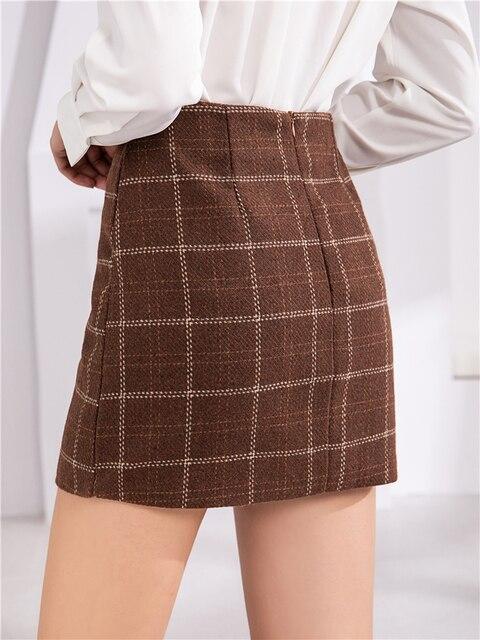 Colorfaith nuevo 2019 falda de moda para mujeres Otoño Invierno estilo coreano de lana a cuadros Paquete de cadera Mini faldas SK870