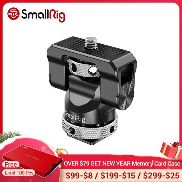 Soporte de cámara pequeña EVF giratorio, 360 grados e inclinación, montaje de Monitor de 140 grados con adaptador de micrófono para Flash de zapata fría, 2346
