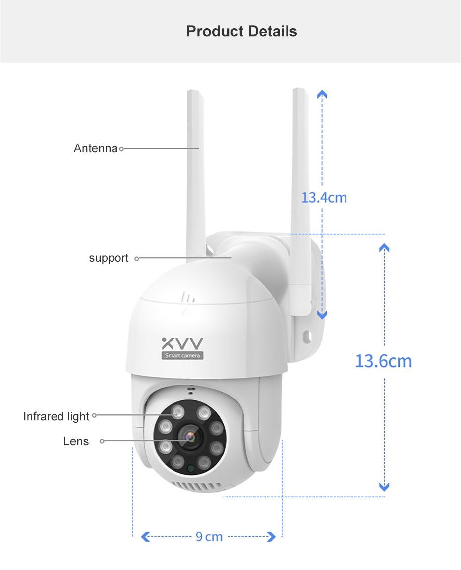 Xiaomi Smart Outdoor IP Camera P1 1080P PTZ Rotate Wifi Webcam Humanoid Detect Waterproof Security Camers Work For Mi Home App