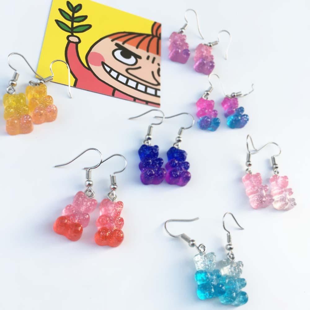 Женские серьги с мишками желе, Модные Разноцветные серьги с маленькими милыми животными, забавные ювелирные украшения|Серьги-подвески|   | АлиЭкспресс