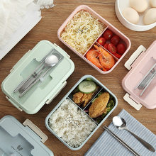 Large Capacity Microwave Lunch Box with Spoon & Fork 3-Compartment Divided Food Storage Container Boxes 1000ml