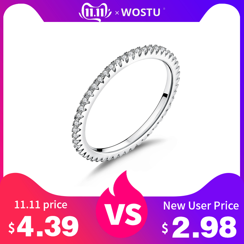 WOSTU Real 100% 925 Sterling Silver Fashionable Ring Circle Clear CZ Geometric Stackable Rings For Women Wedding Jewelry Gift
