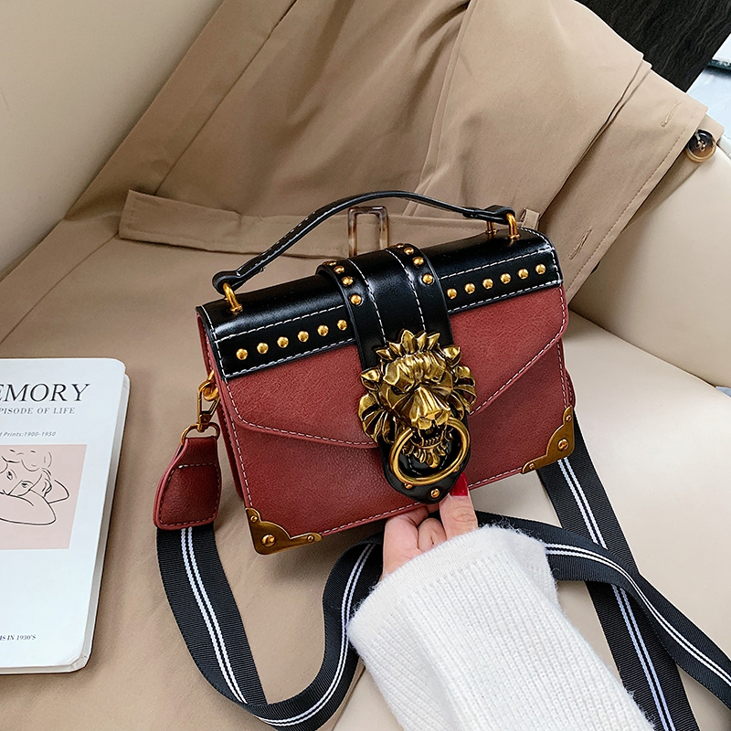 Hd747e8a0e3ad48f2b3386fad1dbd5affD - Female Fashion Handbags Popular Girls Crossbody Bags Totes Woman Metal Lion Head  Shoulder Purse Mini Square Messenger Bag