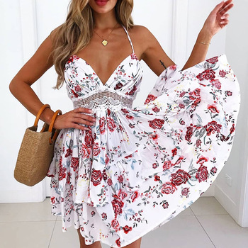 Womens Beach Dresses 2019 New Arrival Summer Lace Sexy Spaghetti Strap Backless Dress Elegant Bohemian Beach Sundress image