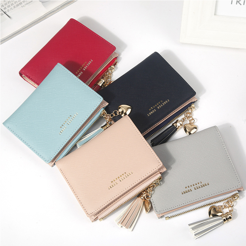 Fashion Women's Wallets Tassel Short Wallet For Woman Zipper Mini Rfid Coin Purse Ladies Small Wallet Female Leather Card Holder