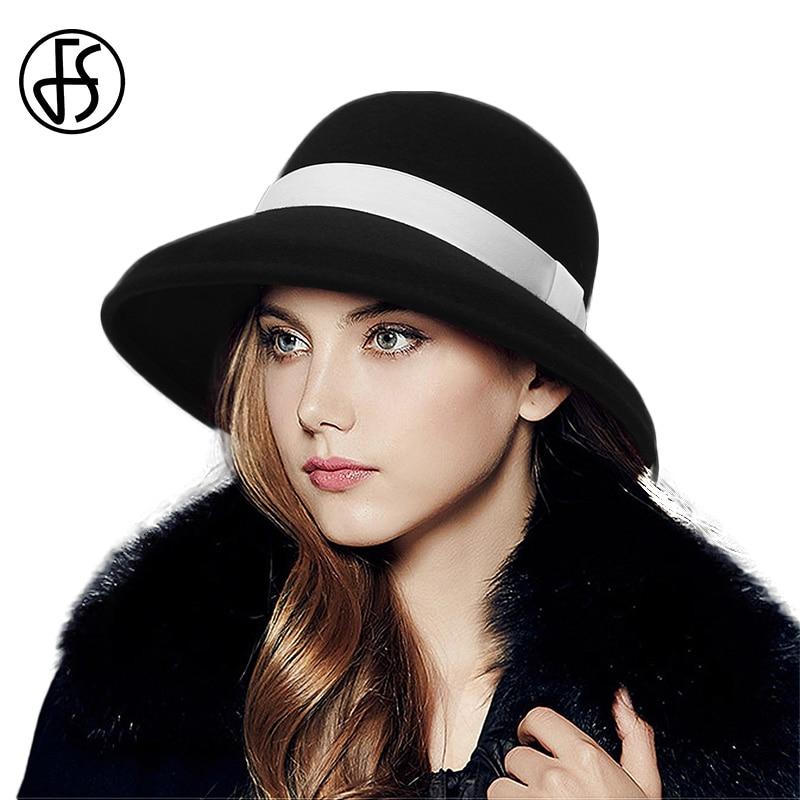 Fs Lady Fedora Hat Winter Fashion Bowler Hats Women With Ribbon Black Gray Party Formal Top Grade 100 Wool Felt Dome Cap Women S Fedoras Aliexpress