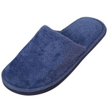 Cover Toe Round Flock Plush Men Warm Home Plush Soft Slippers Indoors Anti-slip Winter Floor Bedroom Shoes Male Large Size Flats(China)