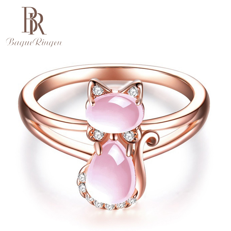 Bague Ringen Cat Design Created Pink Quartz 925 Silver Jewelry Rings For Women Wedding  Party  Fine Jewelry Ring Wholesale Gift