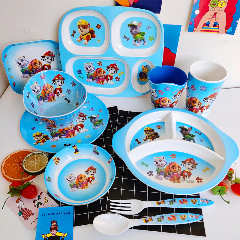 Paw Patrol Dog Child Cute Cartoon Tableware Set Student Household Resin Fall Resistant Bowl Bowl Knife Fork Cup For Party
