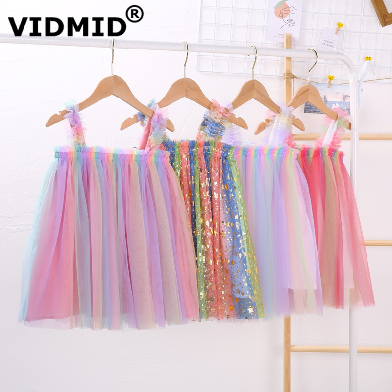 VIDMID Baby Girls summer Dresses Cotton sweet lace Dresses Kids girls vests Clothes children's girls sleeveless clothing 7065 03 1