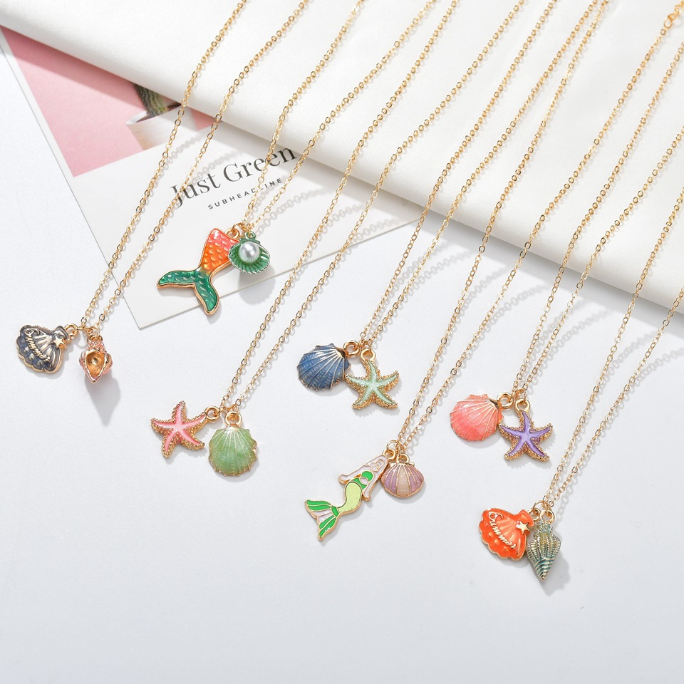 2019 Fashion Ocean Sea Conch Shell Mermaid Color Pendent Necklace for Women Gold Bohemian Long Chain Pearl Statement Jewelry