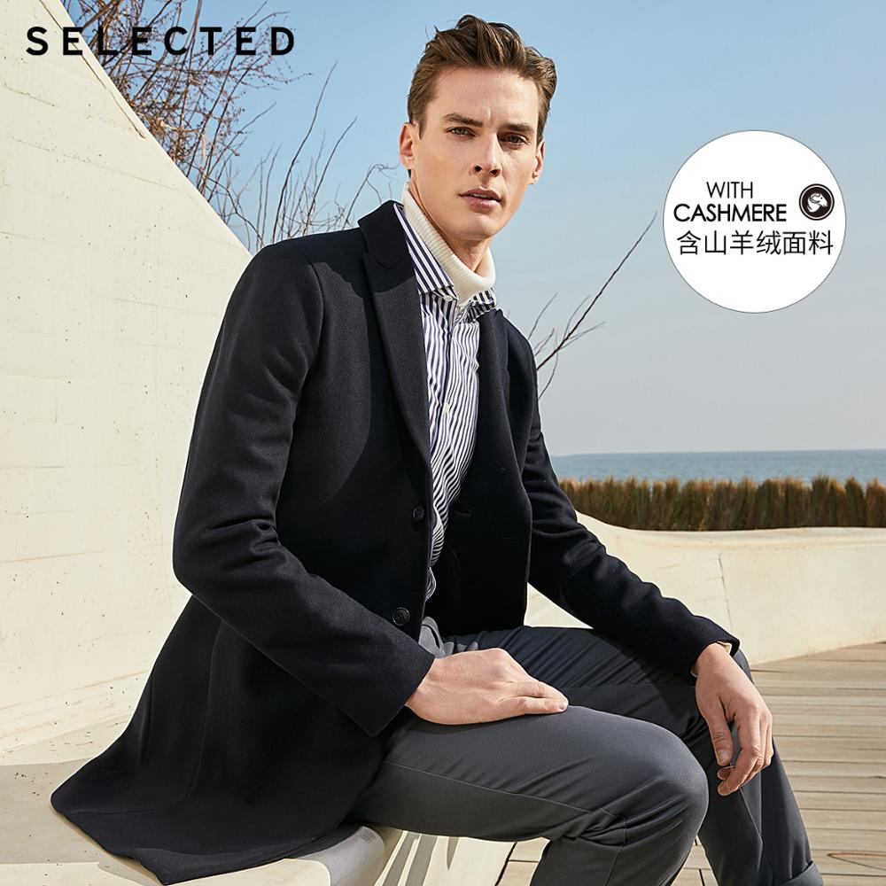 SELECTED Men's Woolen Mid-length Stylish Casual Wool Coat S|419427559