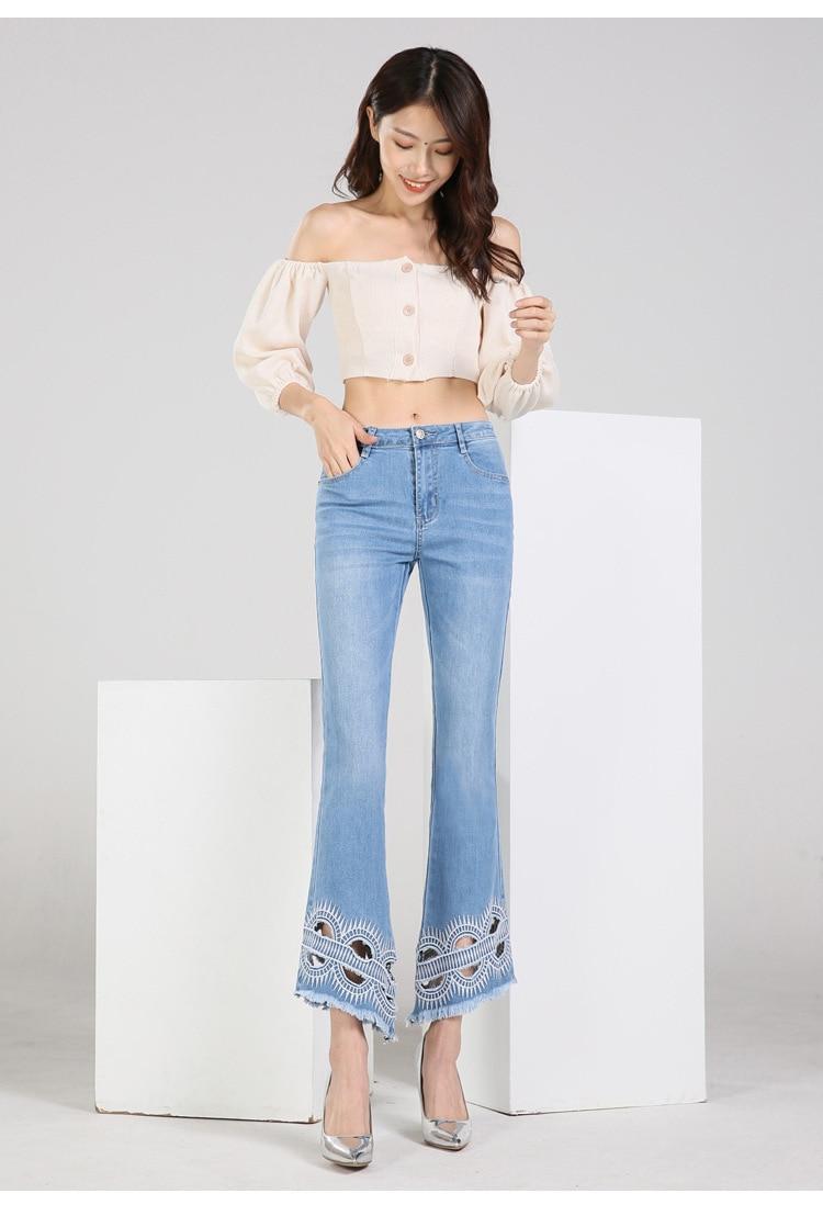 KSTUN FERZIGE high waist women jeans stretch light blue hollow out embroidery slim fit bell bottom pants fashion women's jeans size 36 13