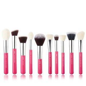 Image 5 - Jessup brushes 10pcs Black/Silver Face Makeup brushes set beauty Cosmetic Make up brush Contour Powder blush