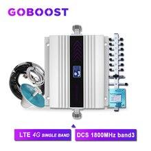 4G Repeater 1800 MHz DCS Tế Bào Tăng Cường Tín Hiệu Màn Hình LCD Hiển Thị Tín Hiệu Điện Thoại Khuếch Đại Yagi + Ốp Trần Ăng Ten 5D cáp Đồng Trục