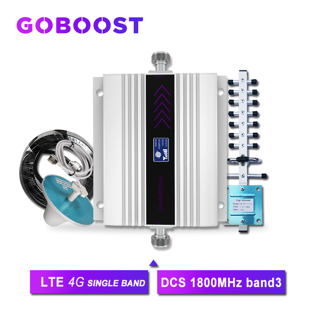 4G Repeater 1800MHZ DCS Cellular Signal Booster LCD Display Cell Phone Signal Amplifier Yagi+Ceiling Antenna 5D Coaxial Cable