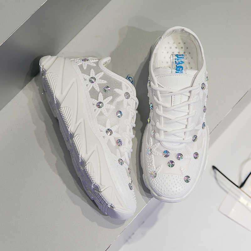 2019 Ins Rahat Bayanlar Yüksek Platformu Nefes Hava Mesh Yaz Beyaz Sneakers Kadınlar Düz Kristal Çiçek bağcıklı ayakkabı