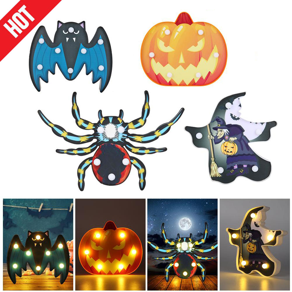 Battery Operated Ghost LED Light Spoof Pumpkin Spider Bat Security Witch Skull Marquee Sign Halloween Durable  Decor Lamp