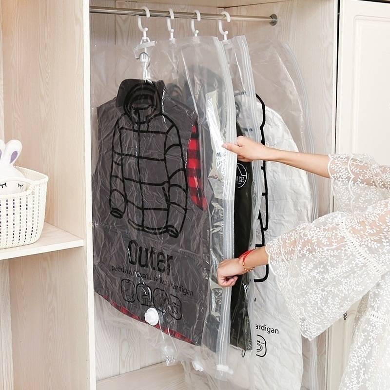 Side Pull Hanging Clothes Compression Bag Transparent Pumping Vacuum Storage Bag