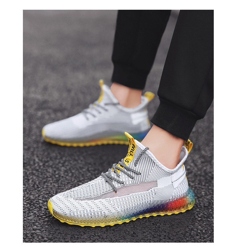 Hd748908ac5394689bcef230c0ca37566Z Rainbow bottom coconut shoes flying woven running shoes