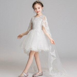 Białe koronkowe sukienki dla dziewczynek długie sukienki komunijne sukienki komunijne na wesele dziewczynki księżniczka suknia wieczorowa