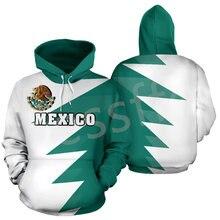 Tessffel méxico país bandeira símbolo newfashion 3dprint unisex streetwear casual engraçado hoodies de manga longa pulôver a21